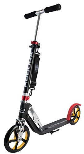 HUDORA Big Wheel Scooter 205 - Das Original, Tret-Roller klappbar - City-Scooter - 14759, schwarz/rot/gold