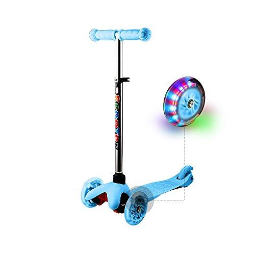 WeSkate Roller für Kinder Kleinkinder Scooter 3 Räder Verstellbare Mini Kinderscooter Kinderroller Dreiräder mit Blinkenden LED-Räder für Jüngere Mädchen ab 2 Jahre