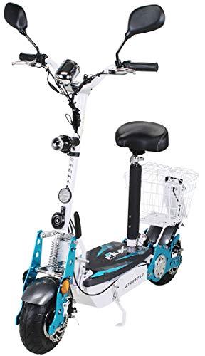 E-Scooter Roller Original E-Flux 40 mit Straßenzulassung und 800 Watt 36 V Motor 40 km/h Geschwindigkeit eingetragen Elektroroller E-Roller E-Scooter in vielen Farben (Weiß)
